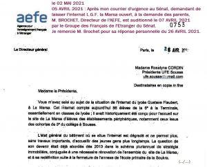 Lettre AEFE 300x243 - Roselyne Cordin lance un appel pour maintenir l'internat de Gustave Flaubert au delà de 2027
