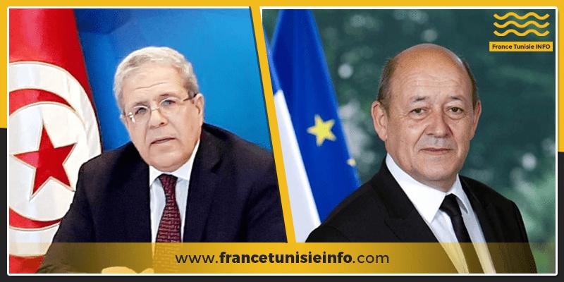 le Drian Jerendi franceTunisieinfo - Entretien entre Jean-Yves Le Drian et Othman Jerandi